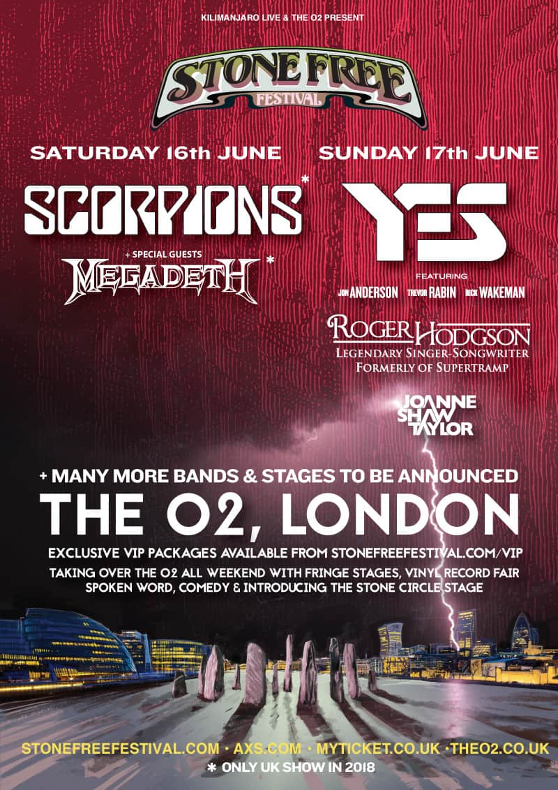 Scorpions, Yes, Roger Hodgson & Joanne Shaw Taylor For Stone Free Festival