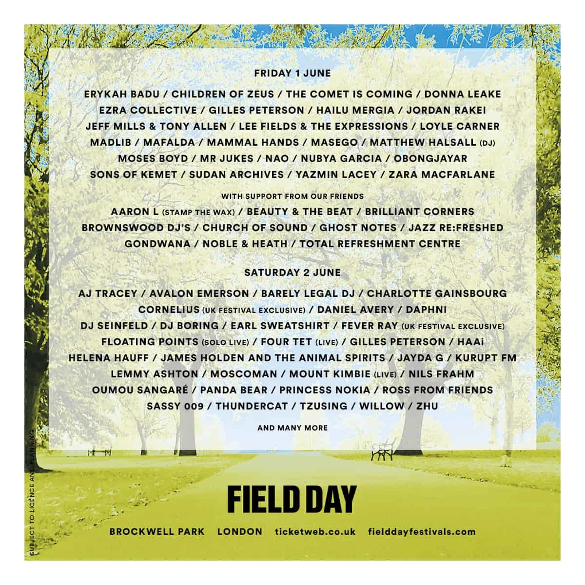 Field Day Moves To Brockwell Park & 2018 Line Up